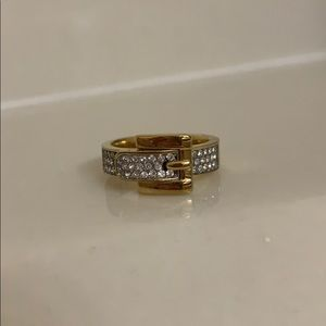 Michael Kors Gold Pave Buckle Ring